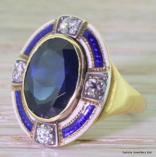 art deco 624 carat sapphire diamond enamel ring circa 1920