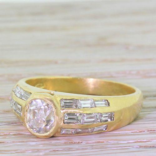 art deco 089 carat old cut baguette cut diamond engagement ring circa 1920