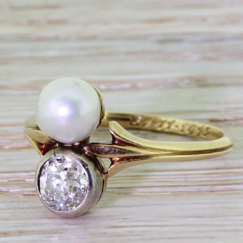 edwardian 070 carat old cut diamond natural pearl ring dated 1913