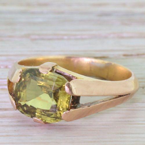 victorian 347 carat green sapphire gypsy style ring circa 1900