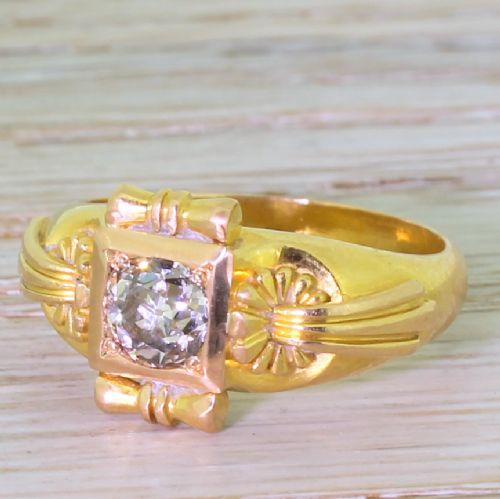 victorian 087 carat old cut diamond solitaire engagement ring circa 1900