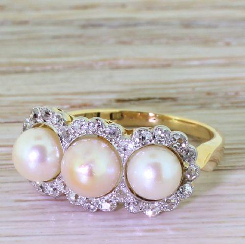 art deco natural pearl old cut diamond triple cluster ring circa 1925