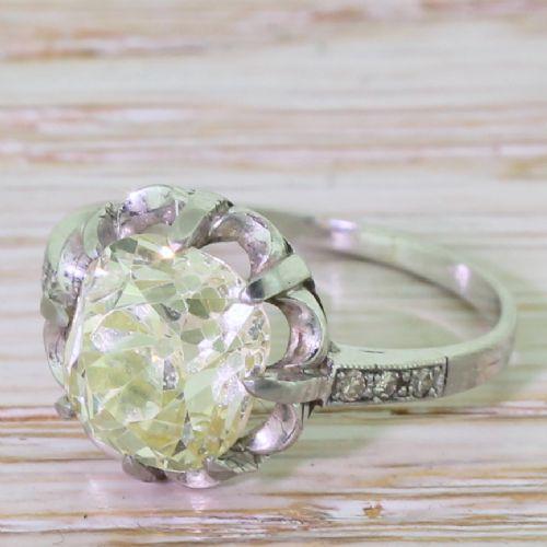 art deco 328 carat light greenish yellow old mine cut diamond engagement ring circa 1925