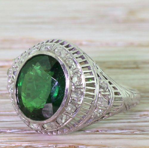 art deco 325 carat tsavorite old cut diamond ring circa 1925