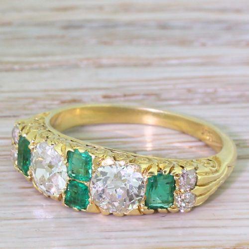 edwardian 185 carat old cut diamond emerald half hoop ring circa 1905