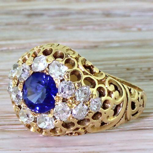 edwardian sapphire old cut diamond filigree cluster ring circa 1905