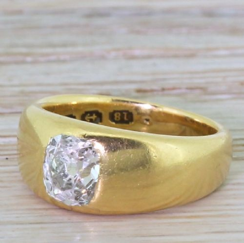mid century 100 carat old cut diamond solitaire ring dated 1944