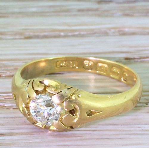 victorian 058 carat old cut diamond solitaire ring dated 1889