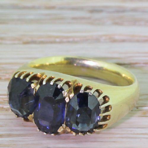 victorian 350ct natural sapphire three stone ring circa 1880