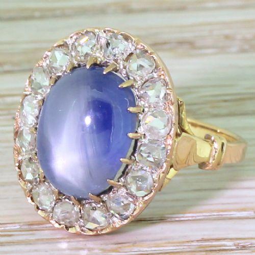 art deco 1045 carat star sapphire rose cut diamond ring french circa 1915