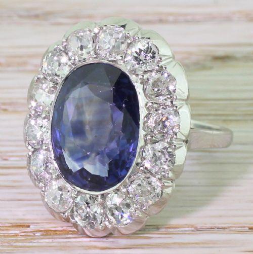 mid century 650 carat natural ceylon sapphire old cut diamond ring circa 1950