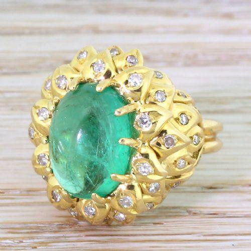 retro 600 carat cabochon colombian emerald diamond ring circa 1945