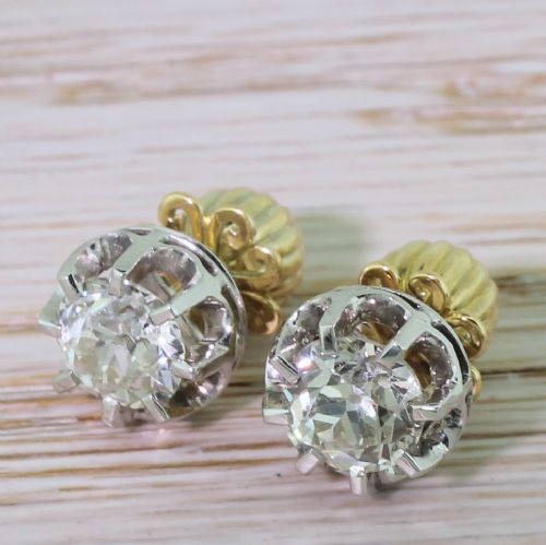 art deco 255 carat old european cut diamond stud earrings circa 1940