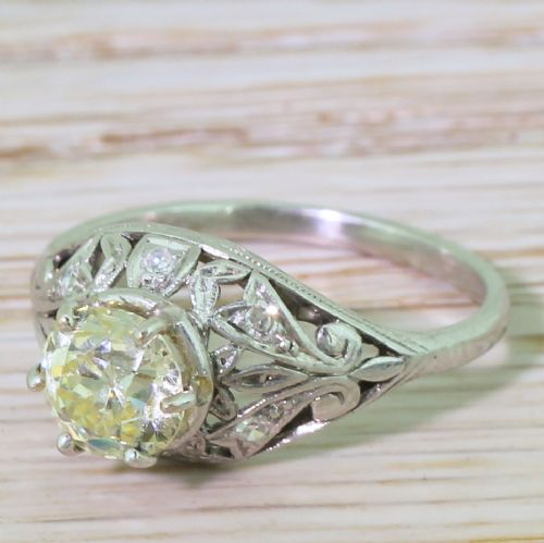 edwardian 125 light yellow old cut diamond engagement ring circa 1910