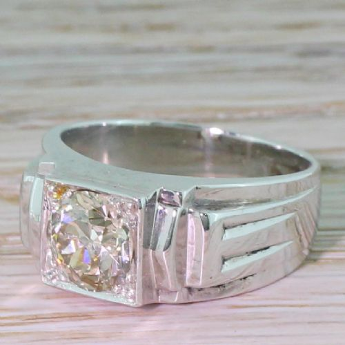 mid century 123 carat old cut diamond solitaire ring french 1950