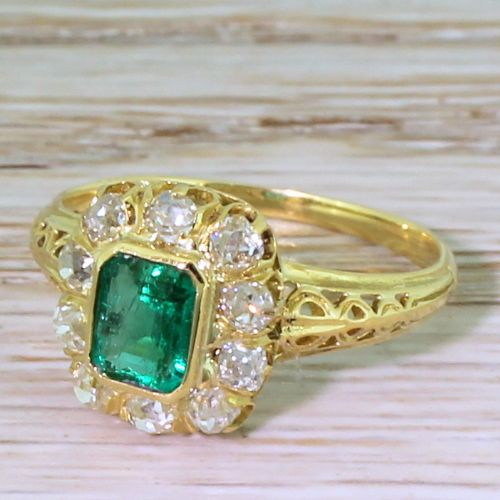 art nouveau 055 carat colombian emerald old cut diamond ring french circa 1915