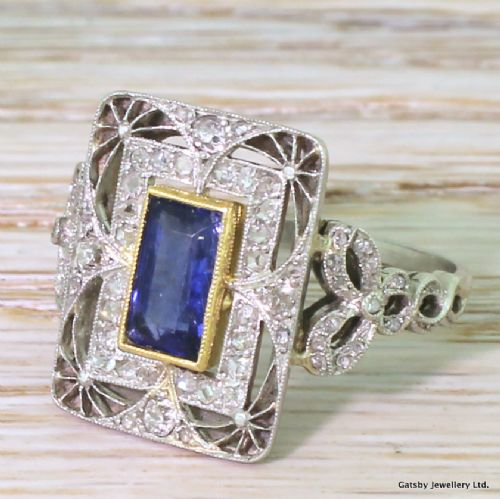 edwardian 118 carat natural sapphire diamond ring french circa 1910