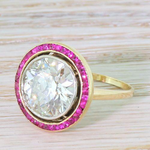 4df61a7ef34f7 Art Deco 4.23 Carat Old Cut Diamond & Ruby Target Ring, French ...