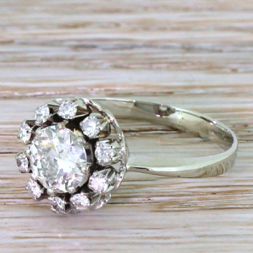 retro 116 carat old cut diamond cluster ring 1950