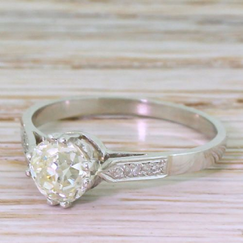 mid century 100 carat old cut diamond engagement ring circa 1945
