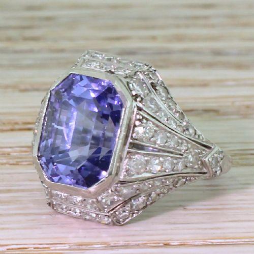 art deco 890 carat natural colourchange sapphire diamond ring circa 1920