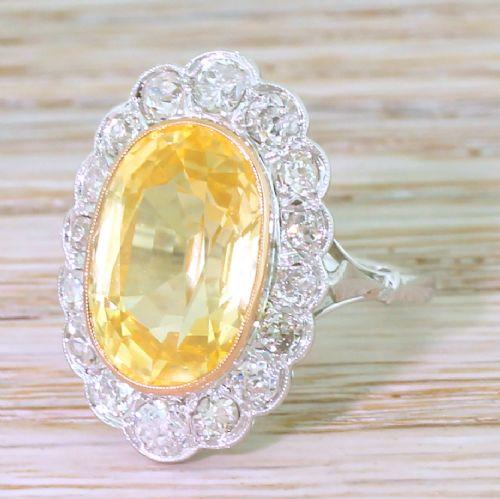 art deco 728 carat ceylon yellow sapphire old cut diamond ring circa 1935