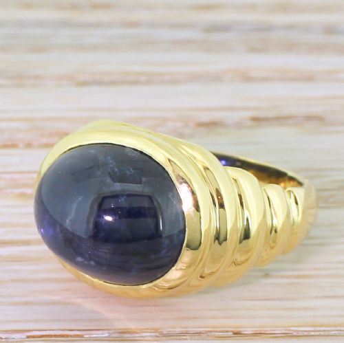 retro 1244 carat natural cabochon sapphire solitaire ring french 1950