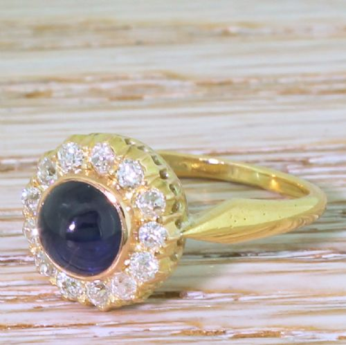 art deco 171 carat natural cabochon sapphire old cut diamond ring circa 1935