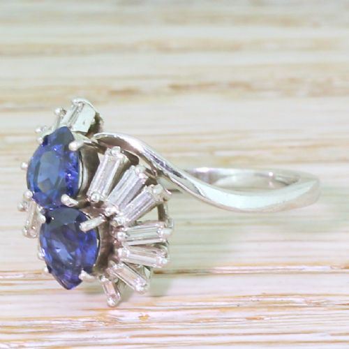 mid century pear cut sapphire baguette cut diamond ring circa 1965