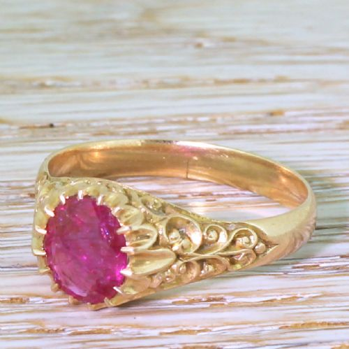 victorian 150 carat natural no heat ruby solitaire ring circa 1900