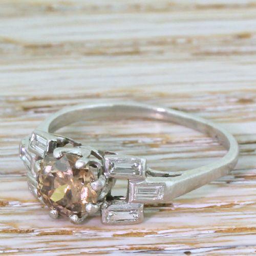 art deco 110 fancy deep brown old european cut diamond engagement ring circa 1920