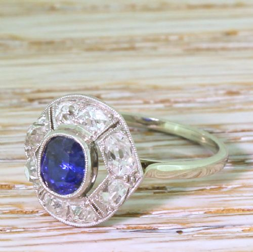 art deco 058 carat sapphire 091 carat old cut diamond ring french circa 1935