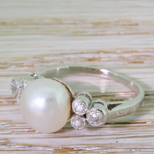 art deco natural saltwater pearl old cut diamond ring circa 1935