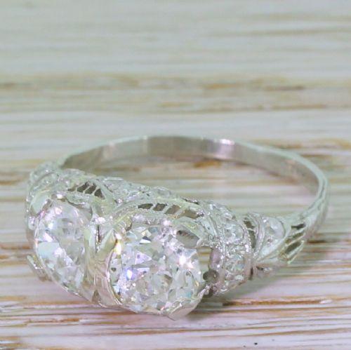 tiffany co 238 carat old cut double diamond ring circa 1915