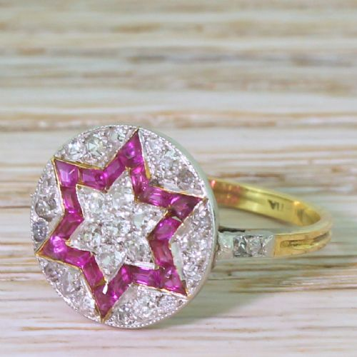 art deco calibr cut ruby old cut diamond star ring circa 1920