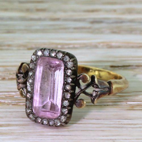 georgian pink topaz rose cut diamond ring circa 1830