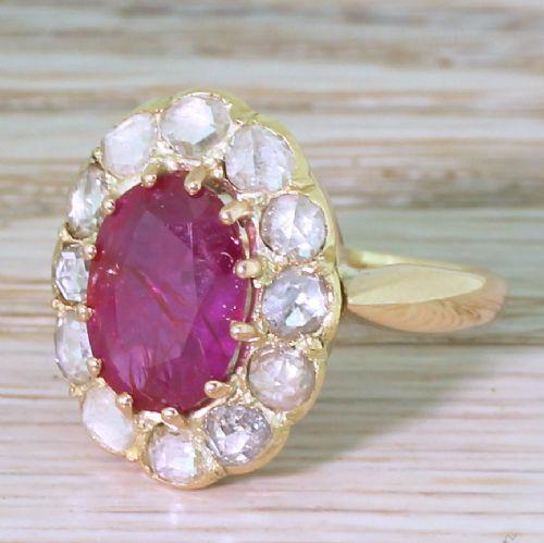 victorian 310 carat natural ruby rose cut diamond ring circa 1870