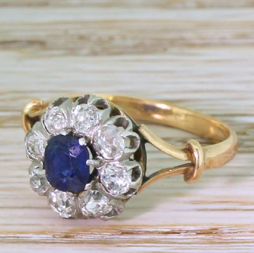 art deco 065 carat sapphire 072 carat diamond ring french circa 1925