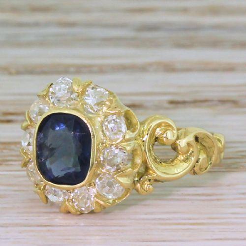 victorian 120 carat sapphire 065 carat old cut diamond ring circa 1860