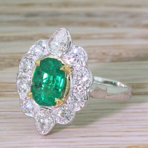 mid century 107 carat emerald diamond cluster ring french