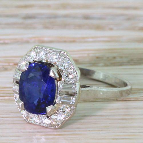 art deco 300 carat natural burmese sapphire diamond ring circa 1935