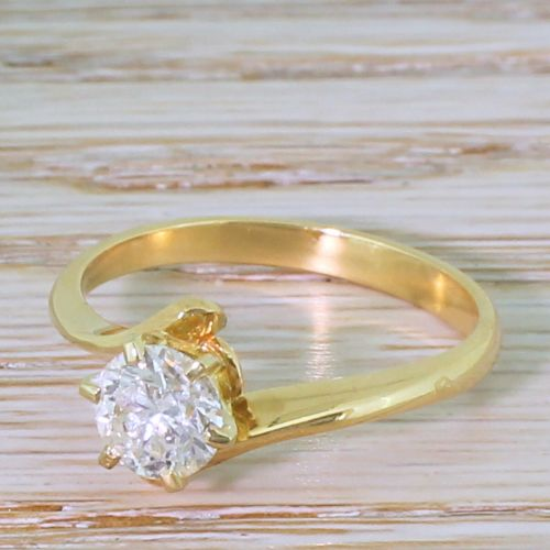 late 20th century 101 carat brilliant cut diamond crossover solitaire ring french