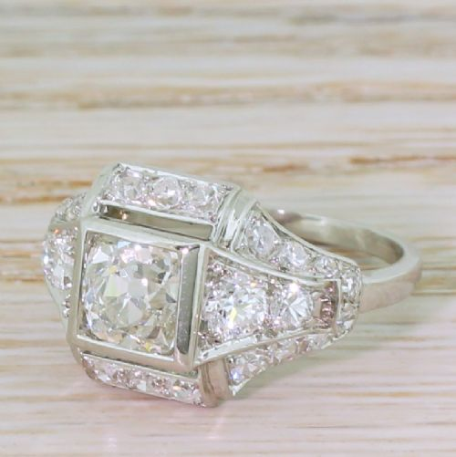 art deco 211 carat old cut diamond ring french circa 1925