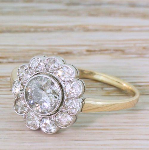 victorian 141 carat old cut diamond cluster ring circa 1900