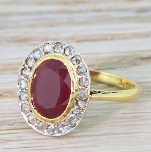 art deco 343 carat ruby rose cut diamond cluster ring circa 1920