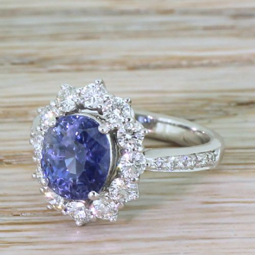 late 20th century 342 carat natural sapphire diamond cluster ring