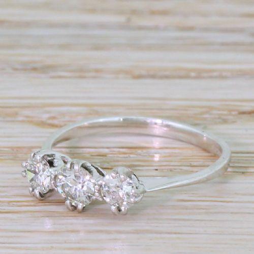 065 carat old cut diamond trilogy ring 18k white gold
