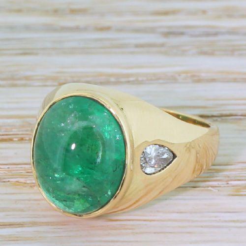 mid century 710 carat cabochon emerald pear cut diamond ring circa 1960