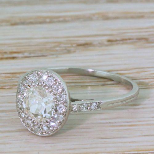 art deco 083 carat old cut diamond cluster ring circa 1935