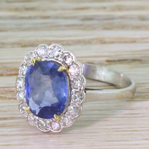 art deco 356 carat natural sapphire diamond cluster ring circa 1940